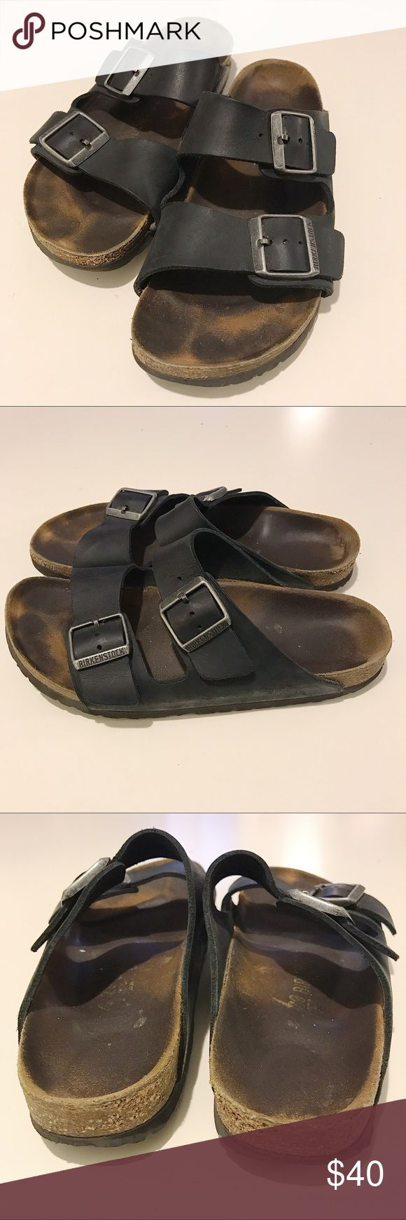Birkenstock | Black Double Buckle Sandals, Size 9 Everyone's favorite and most comfortable sandals! And good news: sandals with socks are back in so you can wear these through cooler weather! Black Birkenstocks. Size 9 or 39. Double buckle straps. Worn but still have life left. Smoke free, pet free home! Birkenstock Shoes Sandals