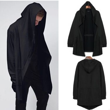 men clothing sudaderas de hombre mens hoodie extended solid sweatshirt Designer brand Cloak cape coat black soul Hooded cardigan