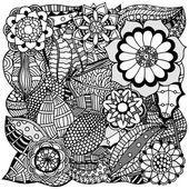 Zentangle floral — Vector de stock