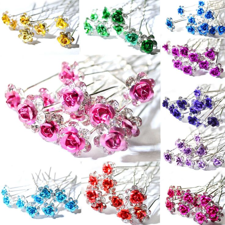 5 / 10pcs Rose Flower Crystal Wedding Party Bridal Prom Star Hair Pin Clips