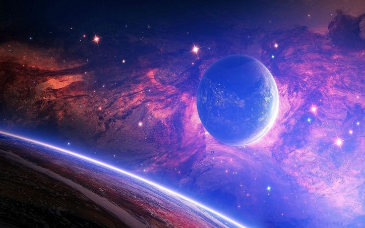 Space Blue Stars Planet Pluto Touhou night os [2880 x 1800]