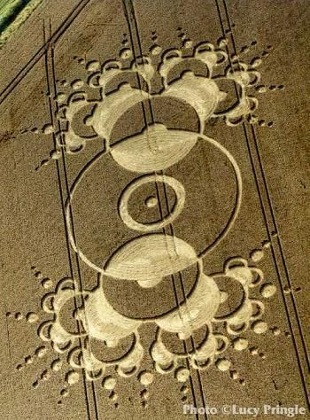 """The """"Arecibo answer"""" is a crop circle that is a near replica and purported to be a response to the """"Arecibo message"""", a piece of coded information about Earth and humanity which was first beamed into space in 1974. It appeared in 2001 near the Chilbolton radio telescope in Hampshire, UK. presence on Earth. **The likelihood of the Arecibo message ever being picked up is very, very low. It was aimed at globular star cluster M13, which is 25,000 light years away."""