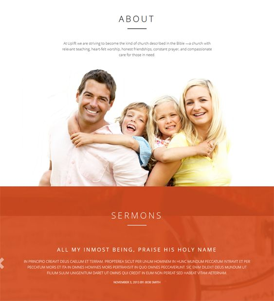 This church WordPress theme includes a responsive layout, a parallax home page, a sermon archive with text, video, and audio support, staff profiles, a contact form, an event calendar, easy color, background, and font customization, and more.