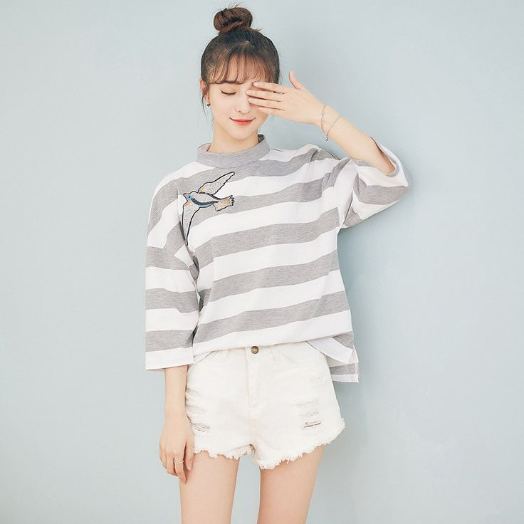 Korean Fashion - Striped embroidery top