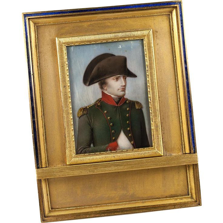 Rare Antique French Portrait Miniature of Napoleon I, Gilt Dore Bronze & Enamel Frame