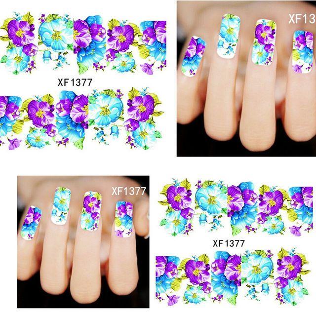 Наклейки на ногти 2 листов Мода Татуировки Наклейки Салон Синий Цветок Воды Nail Art Наклейки Французский Советы Штамповка Салон Инструменты Xf875