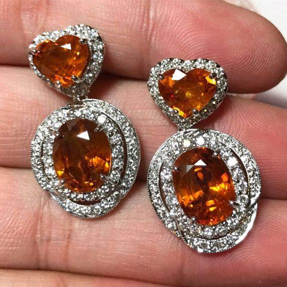 ¡ENORME! 19.34TCW natural zafiro amarillo y diamantes VVS en 18 K oro blanco hecho a mano macizo pendientes collar corazón de Ceilán naranja thai gota naranja