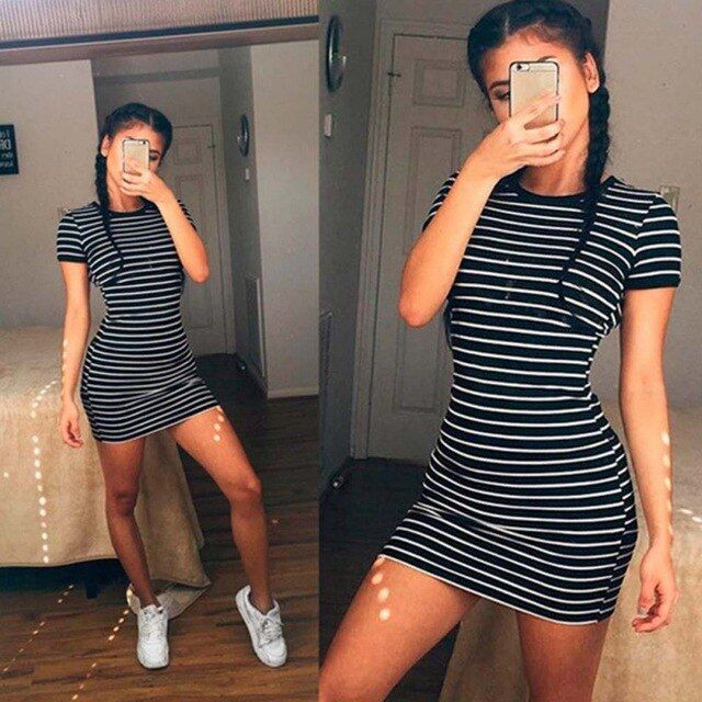 Striped women dress oneck short sleeve slim women dresses fit size