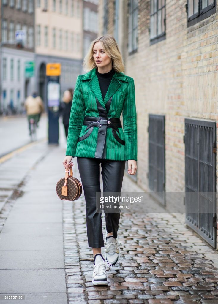 Lisa Hahnbueck Wearing Green Corduroy Louis Vuitton Jacket Set