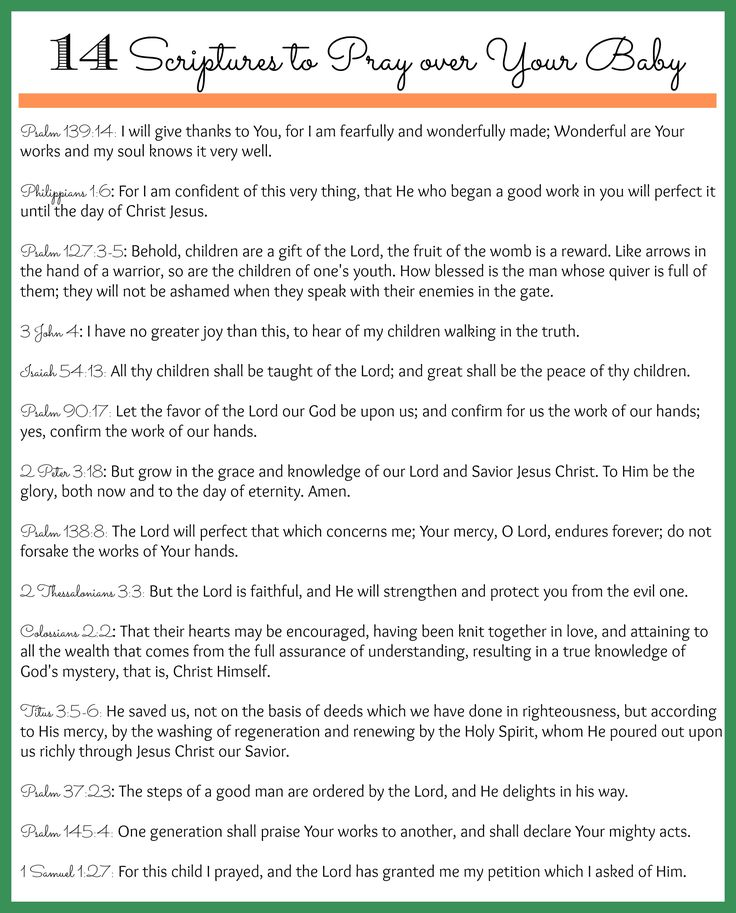 14 Scriptures to pray over your unborn baby (and other children too!) It's never to late to pray Bible verses over our kids!