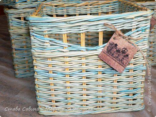 Поделка изделие Плетение Короба 2+4 Расчет закончен Трубочки бумажные фото 2