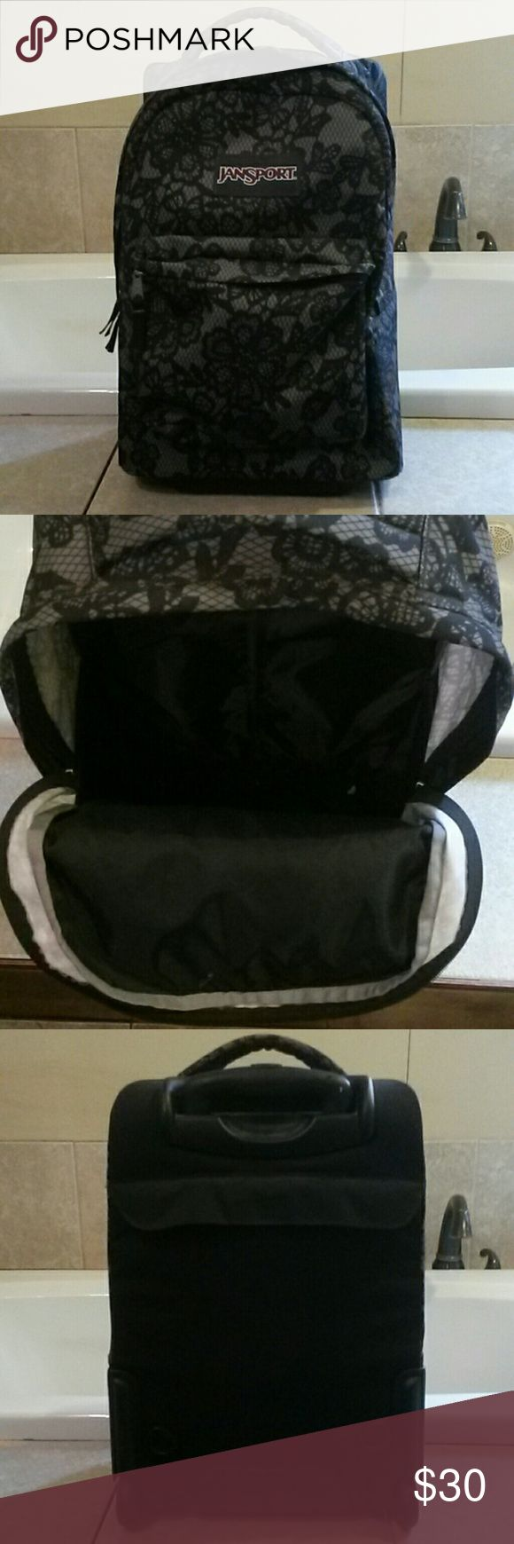 JanSport rolling bookbag tote Faux lace black and gray Jansport Bags Backpacks