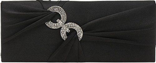 Clutch, Umhängetasche, Unterarmtasche aus Satin mit Schleifenraffung und hochwertige Straßring Dekoration mit abnehmbarere Kette (120 cm), Farbe:Schwarz