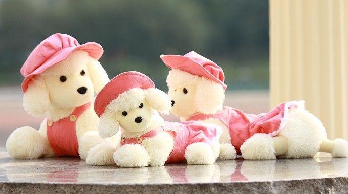 60 см лежа пудель собака плюшевые игрушки розовый красивые ткани и шляпы пудель кукла подарок w5269