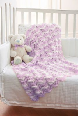 Loops & Threads™ Lilac & White Crochet Baby Blanket
