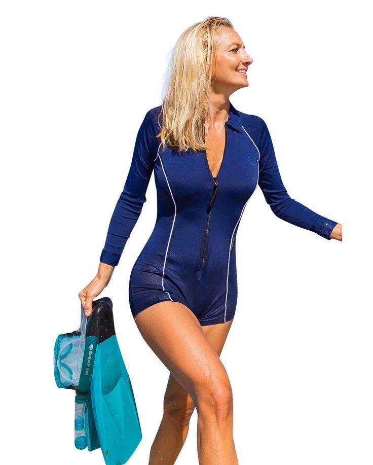 Solartex Sun Gear - Lady's Boyleg Swimsuit - Long Sleeves - by Stingray, $59.90 (http://www.solartex.com/womens/ladys-boyleg-swimsuit-long-sleeves-by-stingray/)