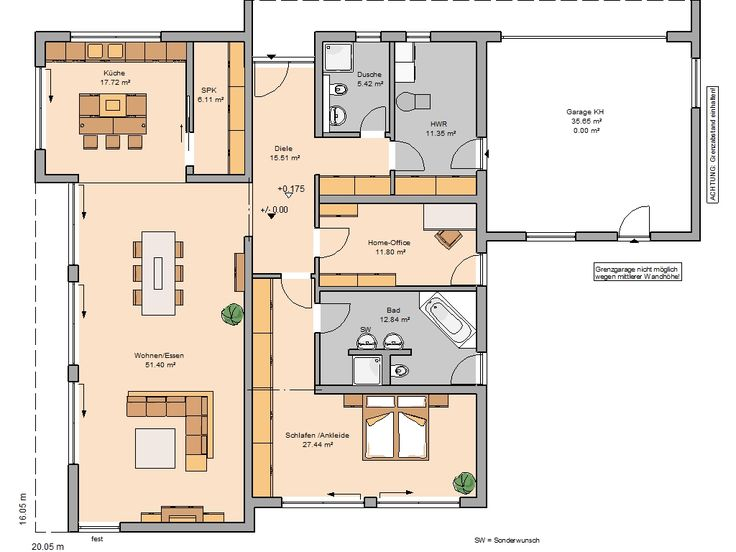 Grundriss einfamilienhaus modern ebenerdig  107 besten Häuser Bilder auf Pinterest | Grundriss bungalow ...