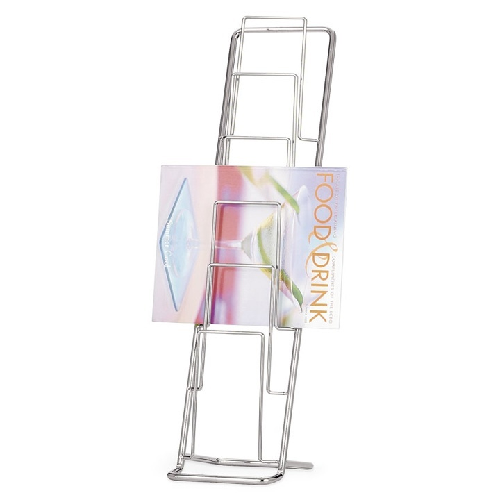 Chrome plated magazine rack to keep all your magazines in order.