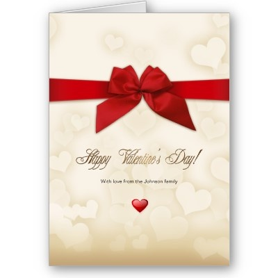 Red Ribbon & Gold Hearts Valentine Love Cards - Special and elegant design for your special ones by ©Ruxique - $3.15