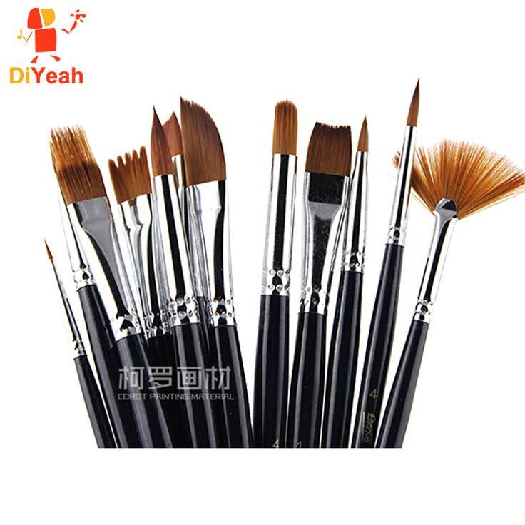 12pcs Face Paint Brushes Professional Nylon Hair Paint Brush Set Face Painting Body Makeup Wooden Handle for Artist Art Supplies
