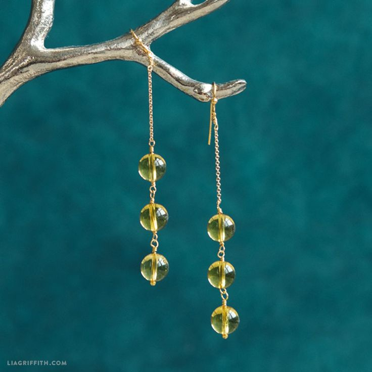 We are absolutely in love with the elegant simplicity of these Lemon Drop DIY Earrings. If you have never made beaded earrings, this is a great project to start with because it is tailored to a beginner skill set.