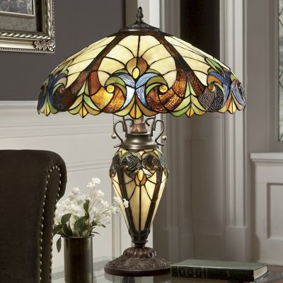 Stained glass halston lamp stained glass lamp shadestiffany glassbeveled glassvintage lightingglass artmontgomery wardtable