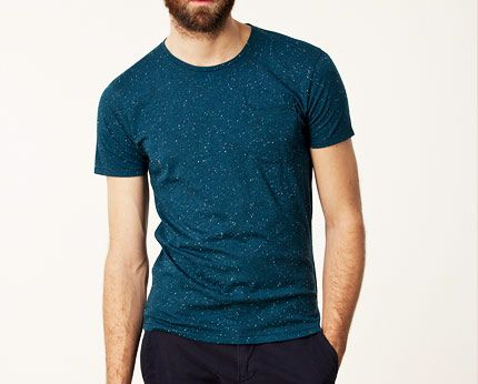 Teal Men's Round Neck Casual Tee