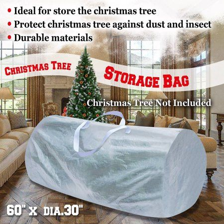 Heavy Duty Large Artificial Christmas Tree Storage Bag For Clean Up Holiday white Up to 9ft