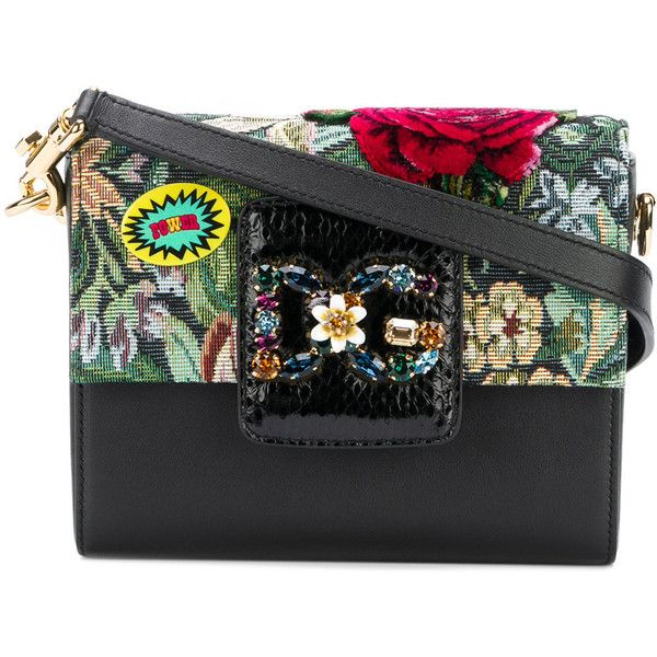 Dolce & Gabbana floral embroidered shoulder bag (€1.510) ❤ liked on Polyvore featuring bags, handbags, shoulder bags, floral shoulder bag, genuine leather handbags, floral handbags, real leather purses and leather handbags