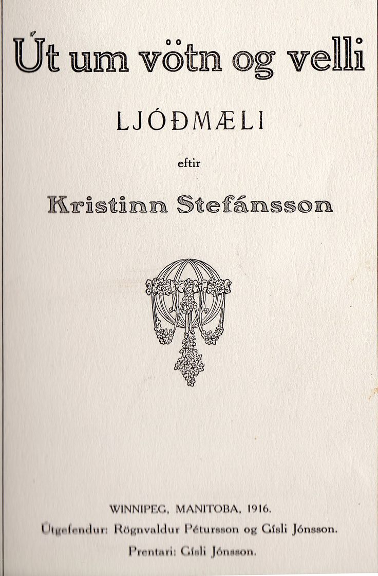 Title page of poetry book by Kristinn Stefánsson, Winnipeg poet.