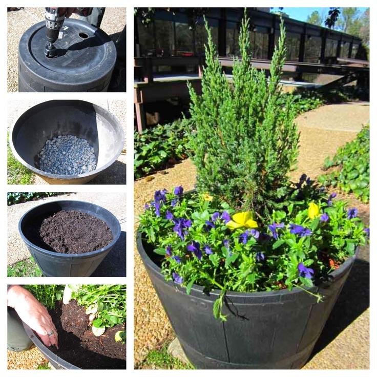 how to build a barrel planter