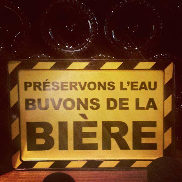 "In a #wine shop: ""save #water, drink #beer"" Chez le #caviste de #barcelonnette #biere #vin #France #winery"