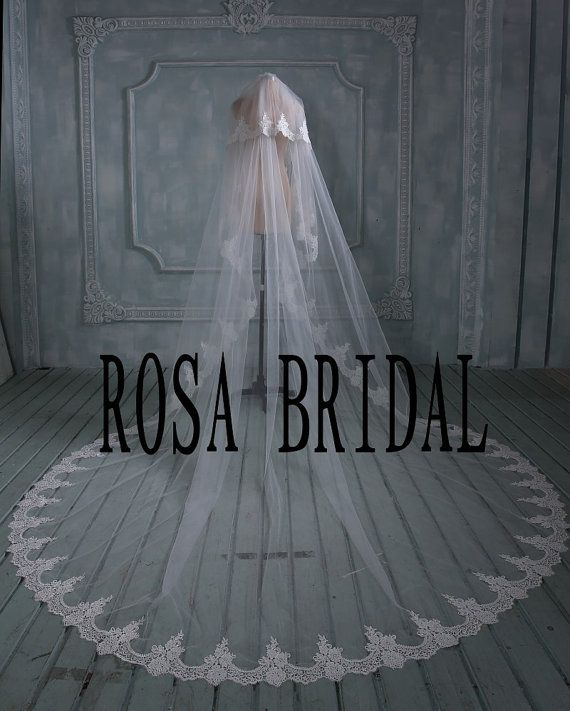 2 tiers bridal veil lace Long wedding veil Lace edge by rosabridal