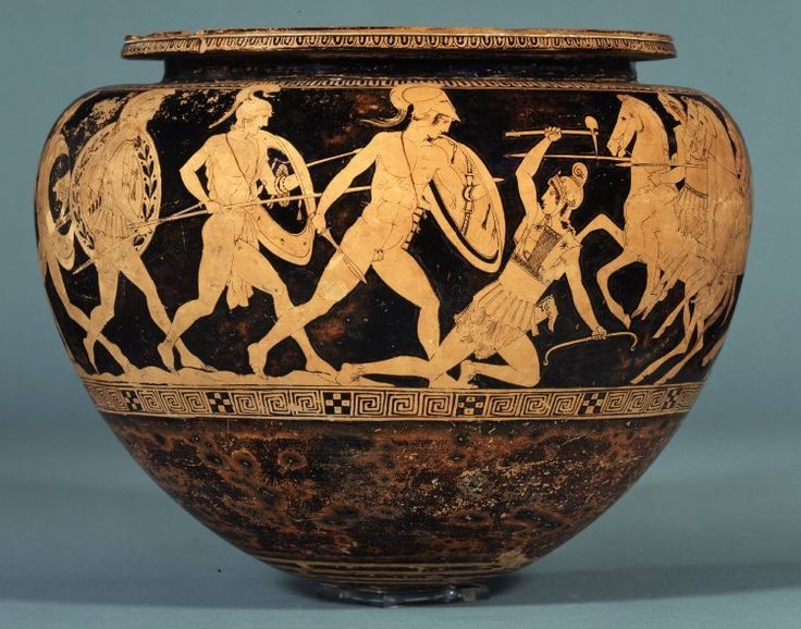 Theseus' Amazonomachy. Red-figure dinos attributed to The Group of Polygnotos, 440-430 BCE. British Museum.