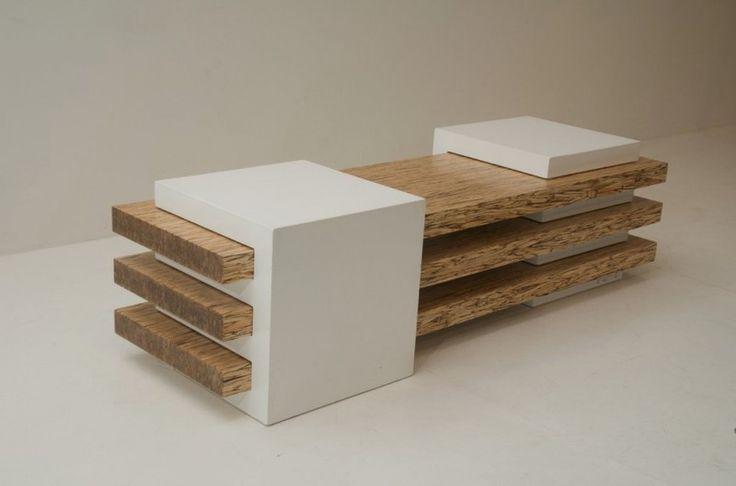 back and front combination of Contemporary Bench in Concrete and Wood Combination