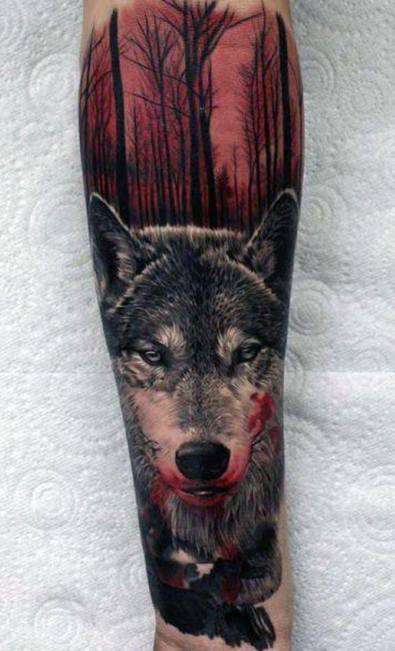 Amazing Wolf Tattoo In Wood Tattoos For Guys Badass Wolf Tattoo Sleeve Badass Tattoos