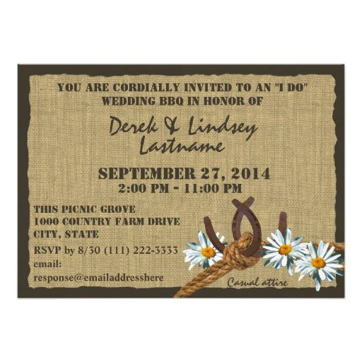 Exceptional Daisies And Horseshoes BBQ Wedding Reception Card