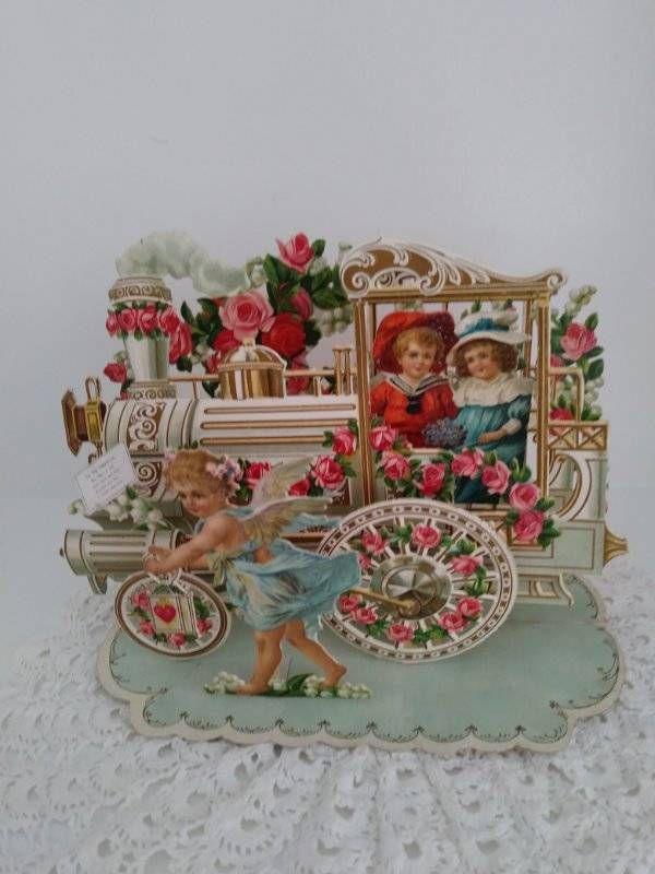 Antique German Pop-Up Valentine's Card. Steam Locomotive