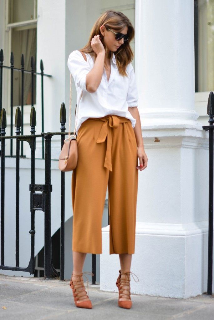 EJSTYLE wears tan culottes, white shirt, forever 21 chloe drew style bag, flat top sunglasses, missguided rust lace up heels, chic outfit