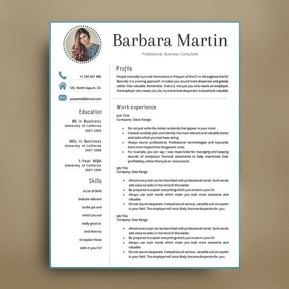 Professional Resume Template  1,2,3,4 Page CV Template. CV + Matching Cover Letter + References Page by AvataDesigns on Etsy