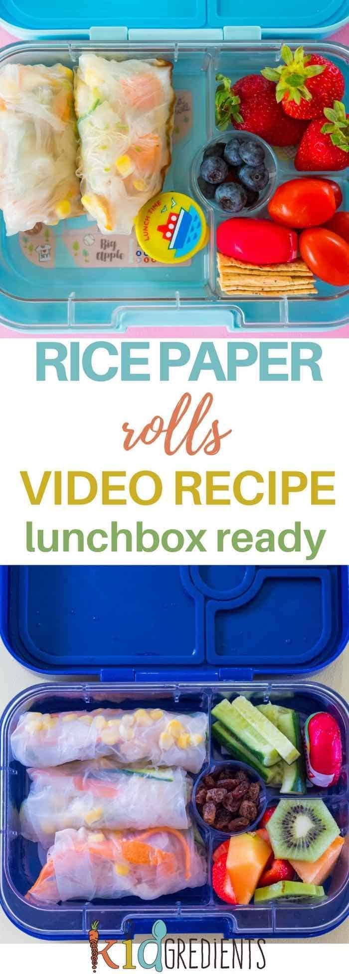 Easy to make and versatile, these rice paper rolls are perfect for the lunchbox! #kidsfood #healthykids #yum via @kidgredients