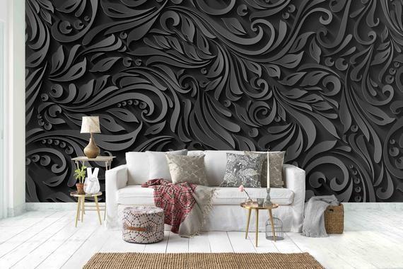 3d Black Floral Pattern Removable Wallpaperpeel Stick Wall Etsy Wall Murals Wall Wallpaper Mural Wallpaper