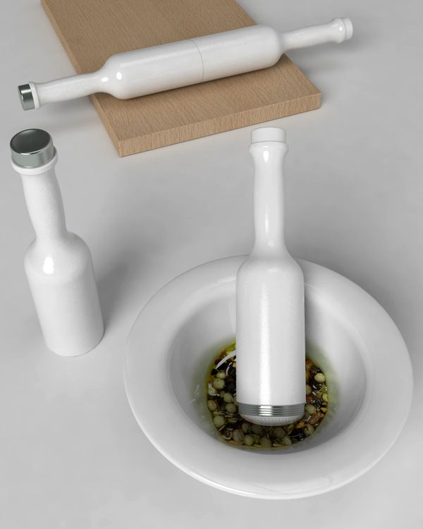 I'm by no means a chef but that doesn't mean I can't appreciate tools of the trade, especially when they're as elegant and functional as the Roll & Mix. The three-in-one design neatly combines the function of a rolling pin and a mortar and pestle with an internal oil bottle.