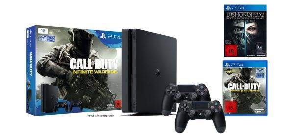 [BLACK FRIDAY] Pack Console PS4 Slim 1 To  3 jeux  2 Manettes à 329 et avec un Jeu à 299   Bonjour  Excellent bon plan sur deux packs PSA on commence avec ce pack PS4 Slim de 1To qui inclus 3 jeux et 2 manettes pour encore 4 heureset qui est proposé à 329 au lieu de 426 !  PS4 Slim 1 To  Call Of Duty Infinite Warfare  Dishonored 2  Dishonored Definitive Edition (Dématérialisé)  2ème manette  Foncez !  Pack Console PS4 Slim 1 To  3 jeux  2 Manettes à 329  (Prévoir 8 de frais de port)  Mais ce…