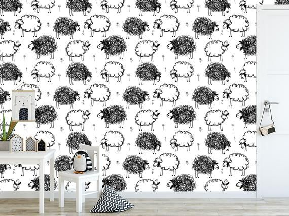 Black And White Sheeps On Meadow Removable Wallpaper Vinyl Wallpaper I Wallpaper