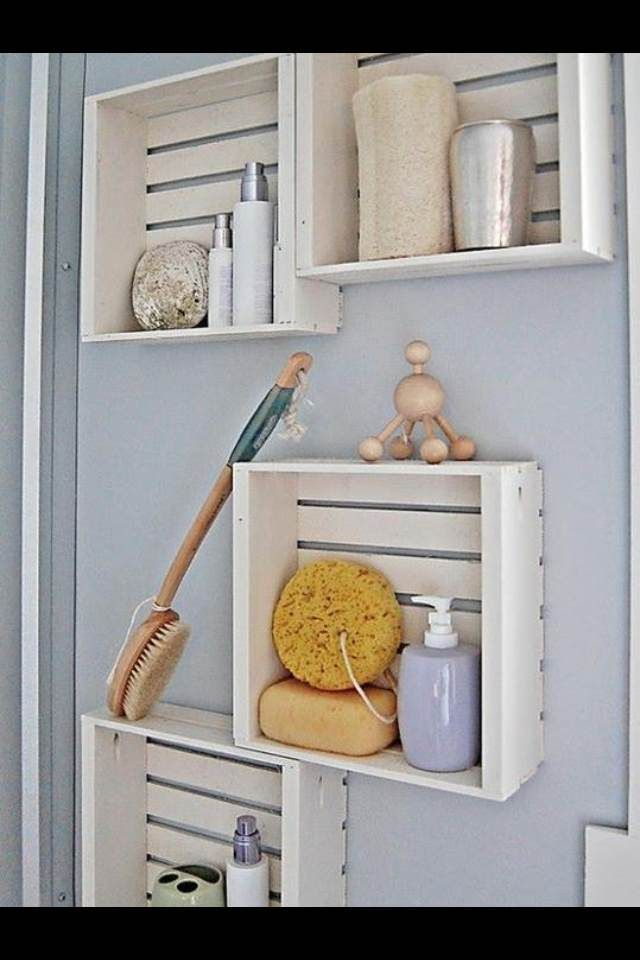 DIY Projects shadow type box diffrent size to hang on bathroom wall for holding shampoo's ect.