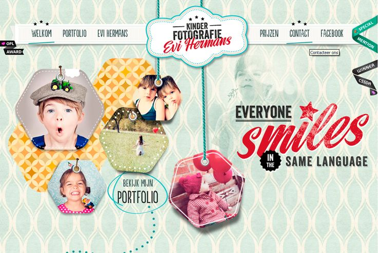 """[Kinder Fotografie - Evi Hermans] """"Everyone smiles in the same language"""". Love the geometrical elements and the catchphrase is just perfect. Great webdesign and copywriting"""