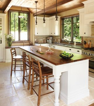 Une cuisine au style campagnard d'aujourd'hui. http://www.m-habitat.fr/par-pieces/cuisine/une-deco-de-cuisine-dans-un-esprit-campagne-2697_A