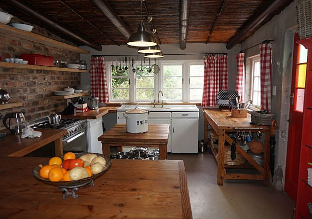 A cute country kitchen at Historic Riverstone House in Greyton!