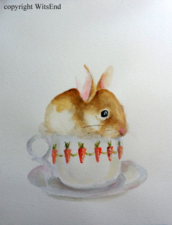 'CUP-O-BUNNY'.Bunny Cup painting original nursery watercolor baby by 4WitsEnd, via Etsy
